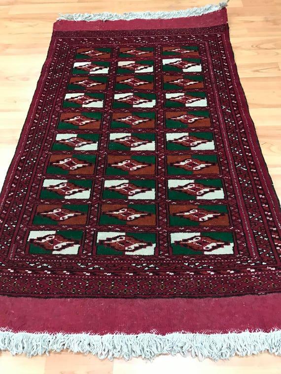 "1'11"" x 2'10"" Persian Turkeman Oriental Rug - 1950s - Hand Made - 100% Wool"