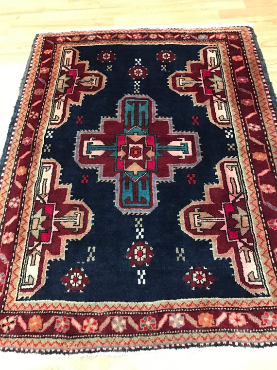 """2'10"""" x 3'6"""" Persian Ardabil Oriental Rug - 1950s - Hand Made - 100% Wool"""