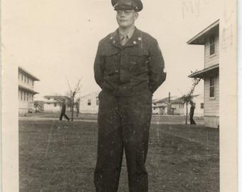 "WWII Soldier in Uniform on base B/W Photo 1940""s"