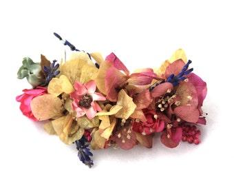barrete,boho,dried,flowers,clip,hair,accesorie,flowers,hydrangea,pink,cream,lavando,pink,soft,daisy,blue,cream,seeds,leafs,flower,boho,wild