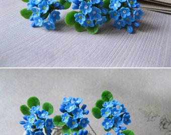 Light blue wedding hair pin Spring wedding hair piece Bridal hair accessory Blue hair pin Bridesmaid hair accessory Forget me not flower pin