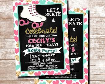 Skate Party Invitation, Roller Skating Invitation, Roller Skating Party Invitation, Skating Party Invitation, Digital Printable Invitation