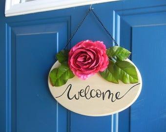 Boho Handlettered Welcome Sign: Boho Home Decor, Front Door Decor, Welcome Sign for Front Door, Wood Welcome Sign, Floral Welcome Sign