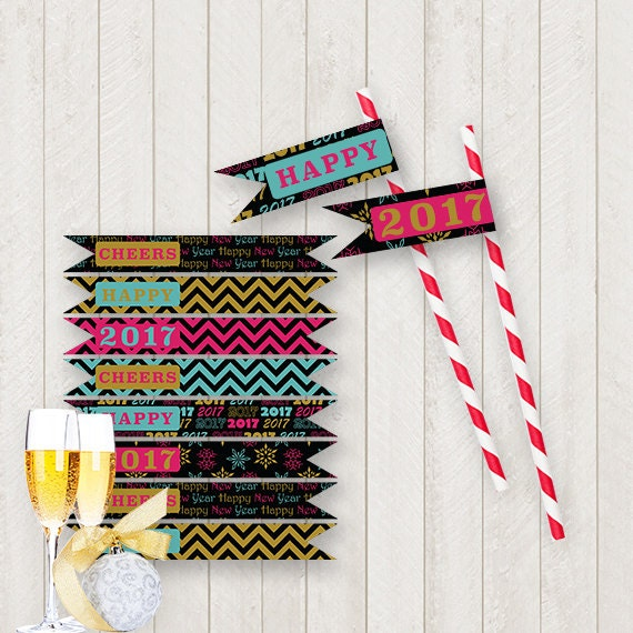 New Year STRAW FLAGS Printable