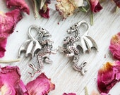 set of 10, dragon charm, fairy tale charm, flaying dragons, antique silver, silver animal charm, silver charms, 20mm x 15mm