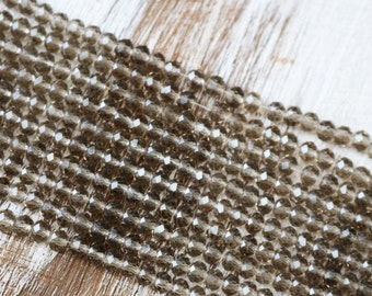 4mm x 6mm, brown crystals, smoky quartz crystals, clear crystals, faceted beads, rondelle beads, full strand,