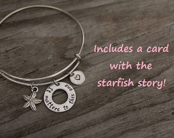 It Matters To This One Starfish Bangle - Foster Care Bangle - Foster Parent Bangle - Adoption Bangle - Social Worker Gift - Adoptee - I/B/H