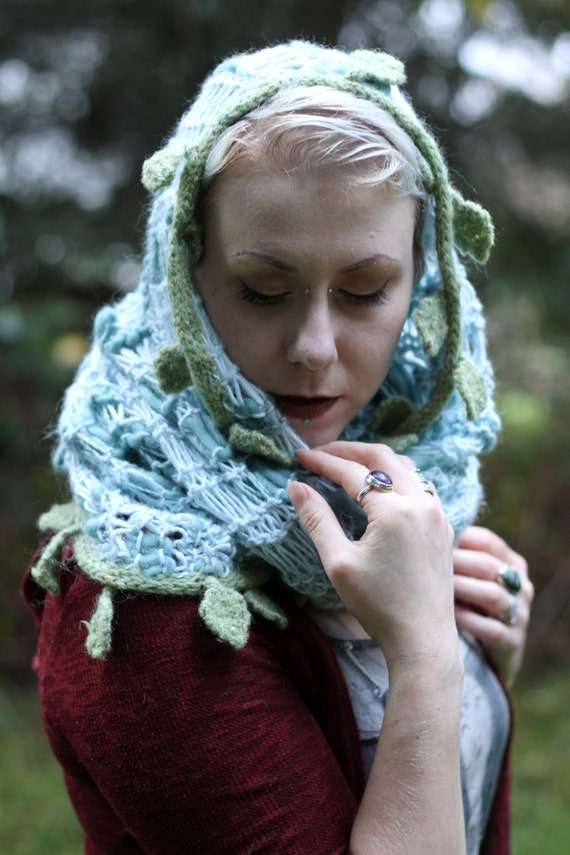 Knit woodland extra chunky blue cowl/hood with wet-felted leaves and vines for your inner sprite.