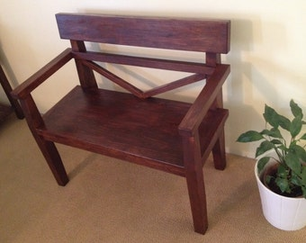 farmhouse style bench rustic bench with back by natshandcrafted. Black Bedroom Furniture Sets. Home Design Ideas