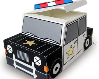 Plucky Police Car Gift Box printable favor/treat box
