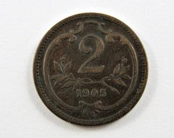 Austria 1905 2 Heller Coin.