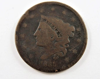 U.S. 1835 Coronet One Cent Coin.