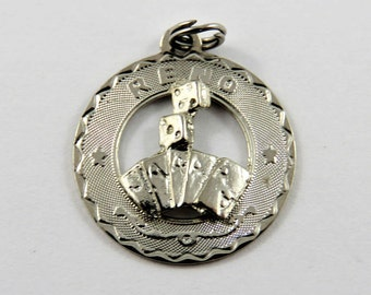 Reno Nevada with Pair of Dice and Four Aces Poker Hand Sterling Silver Charm or Pendant.