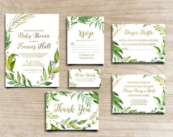 Leafy Invitation, Boho Chic Invite, Green Leaf Invite, Handpainted Invite, Baby Shower Invite, Calligraphy Invite, Printable Invite