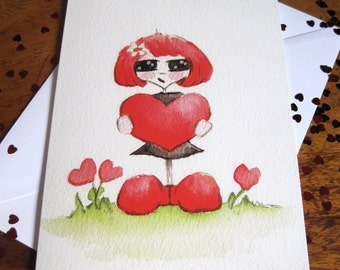 Cute Greetings Card, Any Occasion Card, Birthday card,  Cute Girl Card, Heart Card, Greetings Card,