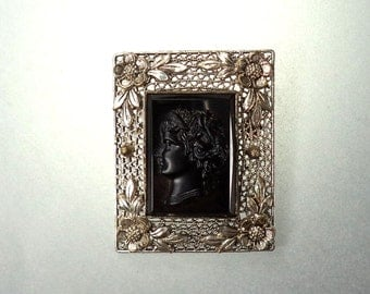 Czechoslovakia Black Glass Cameo Brooch Silver Wire Work Setting Signed