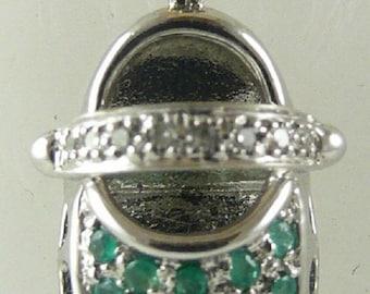 Emerald Shoe Pendant 0.27ct 14KW Gold and Diamonds 0.05ct