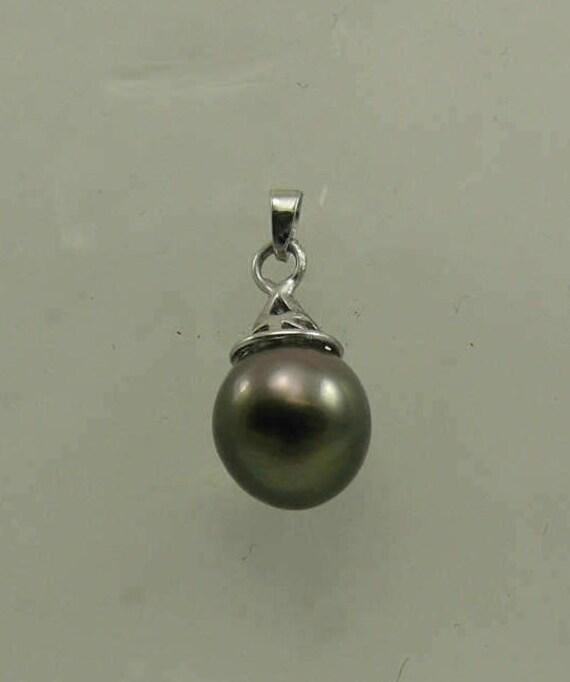 Tahitian Black Pearl 10.4 x 11.2 mm Pendant 14k White Gold