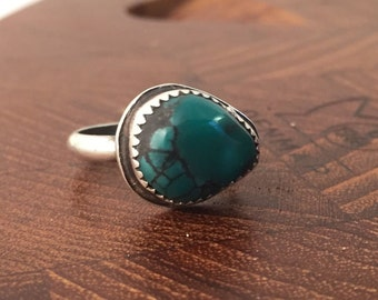 Turquoise Ring, Size 5, Sterling Silver, December Birthstone, Boho, Hippie, teardrop