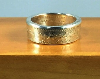 1907 Mexico 50 Centavos Silver Coin Ring