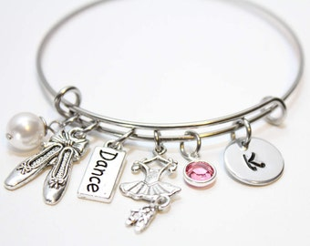 ballet charm bracelet, dance charm bracelet, initial ballet bracelet, initial ballet charm bracelet, little girl ballet charm bracelet