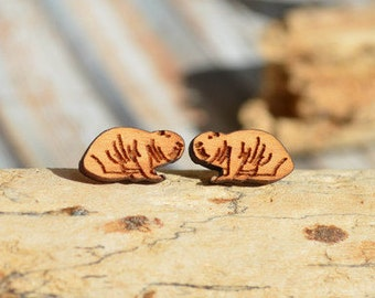 Wooden Stud earrings * mole *