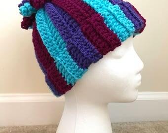 Corkscrew Children's Hat | Purple, Fuchsia, & Teal | Winter Hat | Crochet Hat | Childrens Hat