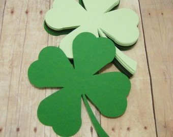 Paper Shamrocks-St. Patricks Day Decor-Classroom Decor-Cardstock Cutouts-St. Paddy's Day Cutouts-4 Leaf Clovers-Green Paper Shamrocks
