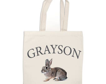 Canvas TOTE BAG Grocery tote Customized Happy Easter Tote Bag Boy or Girls Name Tote Bag Easter Gift Easter Egg Hunt Bag
