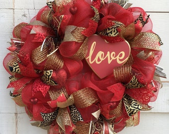 Valentine wreath,Valentine's Day wreath,Heart wreath,Valentine's leopard wreath,Love wreath,Valentine's wreath,Valentine's heart wreath