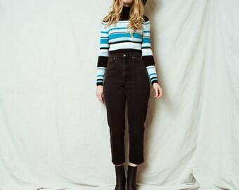 Rad Vintage Striped Ribbed Turtleneck Shirt / S / 90s hipster sweater knit black blue turquoise white stripes lines shirt