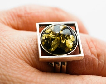 Handmade Silver Baltic Amber Ring, 7g