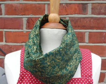Green Gold Holly Fabric Infinity Scarf, Infinity Scarf, Ladies Scarves, Loop Scarf, Womens Scarves, Circle Scarf, Tube Scarf, Gift Idea