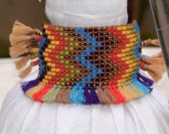 Bohemian Bracelet, Beaded Bracelet with Tassels, Native American Style, Wide Bracelet, Hippie Bracelet, Tassels Bracelets, Boho Style