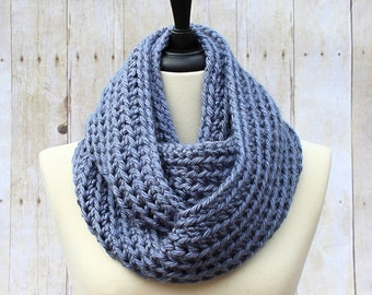 Chunky Infinity Scarf, Light Blue Infinity Scarf, Blue Loop Scarf, Blue Scarf, Chunky Crochet Scarf, Blue Women's Scarf, THE HENSLEY