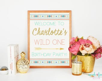 Wild One, Welcome Sign, First Birthday, Party Sign, Tribal, Boho, Party Decor, Welcome Sign, Door Sign, Wild One Printable, Coral Mint