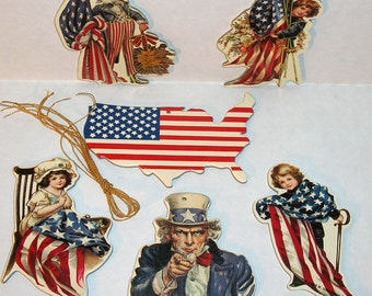 Vintage Early American PATRIOTIC CHRISTMAS ORNAMENTS (Pkg of 6) Mint Rare Shackman Company