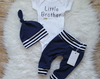 Little Brother Outfit Take Home Baby Boy Outfit  Newborn Set  Baby Boy Outfit  Newborn Boy Clothes  Baby Shower Gift  Photo Prop