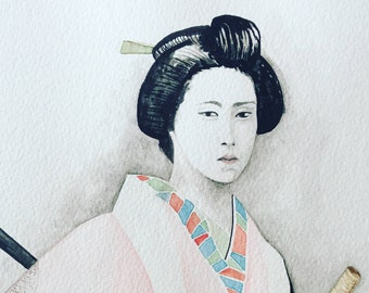 watercolor of bugeisha with haiku