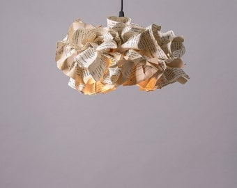 Book Paper Lamp, Up-cycled Paper Fixture, Ceiling light, Eco-Friendly Paper Lampshade, Reading Office Decor, Pendant Lamp, FREE SHIPPING