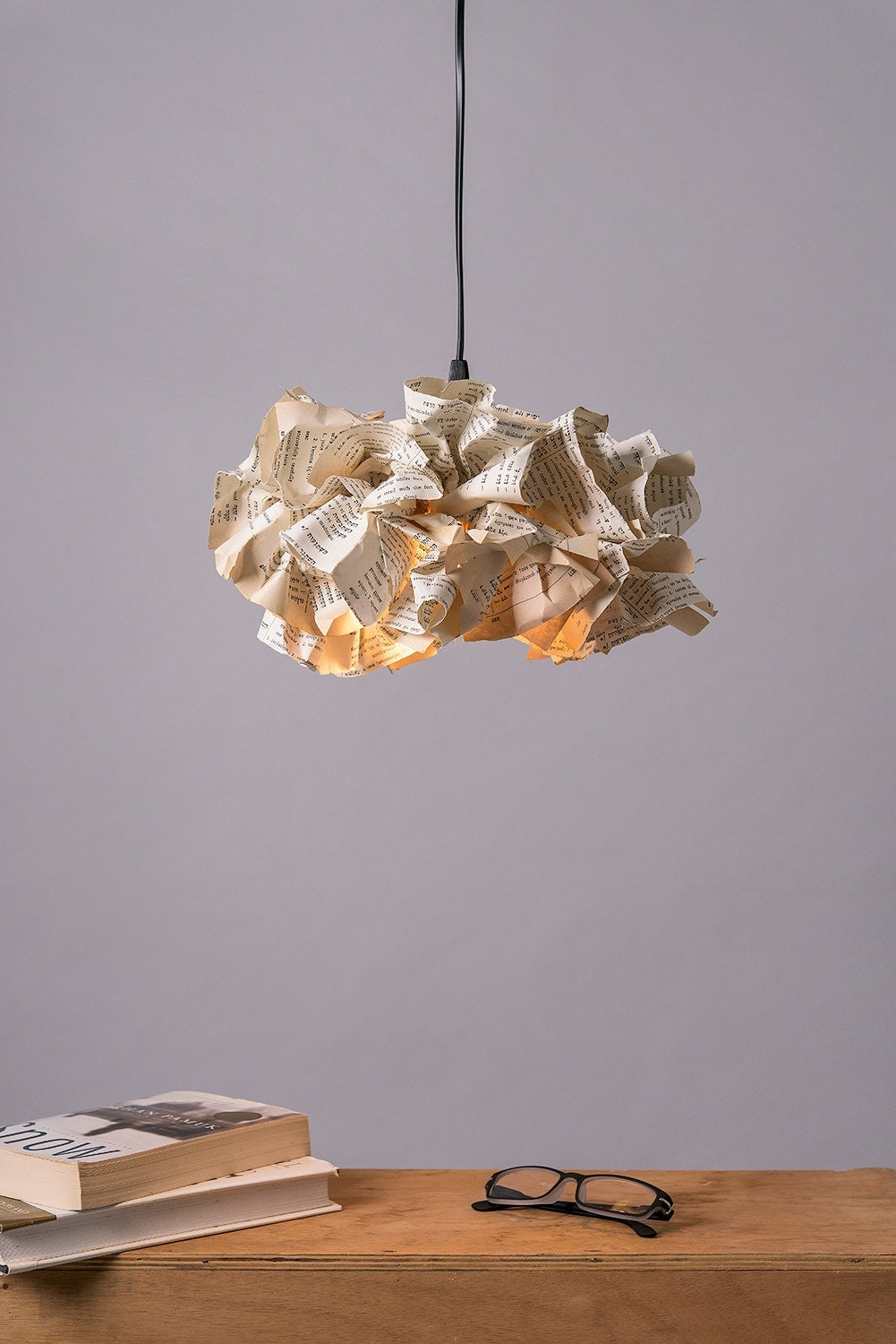 Book paper lamp up cycled paper fixture ceiling light - Paper light fixtures ...
