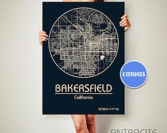 BAKERSFIELD California Map Bakersfield Poster City Map Bakersfield California Art Print Bakersfield California poster Bakersfield