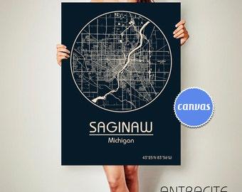 SAGINAW Michigan CANVAS Map Saginaw Michigan Poster City Map Saginaw Michigan Art Print Saginaw Michigan