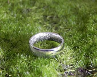 Custom Stainless Steel Fingerprint Engraved Inside of Ring - Personalized Fingerprint Jewelry - Fingerprint Ring - Jewelry Gift