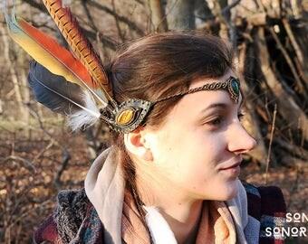 tigerseye leather feather headdress with malachite tiara