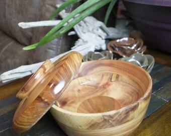 Wood bowl, Lidded Bowl, Dish, Box, Laminated wood Box, Wood Lidded dish, Vessel