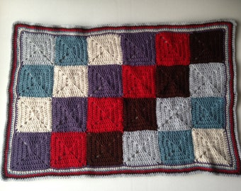 Granny square crochet blanket, multi-coloured, Throw, Afghan, baby or toddler, Patchwork blanket, baby blanket, pram, buggy, cot cover