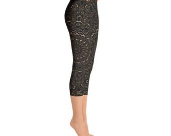 Capris - Camel Yoga Pants, Black Leggings with Brown Mandala Designs for Women, Printed Leggings, Pattern Yoga Tights