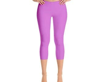 Capris - Orchid Leggings, Mid Rise Waist Workout Pants for Women, Yoga Leggings