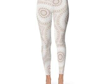 Printed Yoga Pants - Boho Leggings, White Leggings, White and Beige Mandala Yoga Tights
